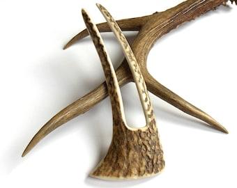 Deer antler hair fork, Antler hair stick, Hand carved bone, Hairpin, Antler hair accessories, Woodland Wedding, Hair accessory by MariyaArts