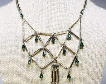 Vintage Rhinestone Teardrop Bid Necklace Circa 1950's