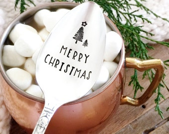 Merry Christmas. Stamped Spoon. Christmas Table Decoration. Hand Stamped Holiday Silverware. Ice Cream Spoon.