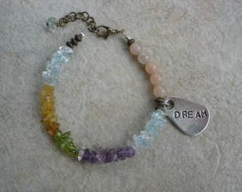Asymmetrical Multi Gemstone Boho Bracelet with Dream Charm, Gemstone Bracelet, Positive Vibe Jewelry, OOAK Jewelry, Gypsy Jewelry