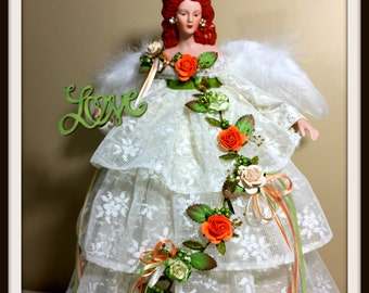 Red Haired Angel Tree Topper, Mother's Day Gift, Irish Christmas Queen of Love Angel, Handmade OOAK Holiday Angel Doll