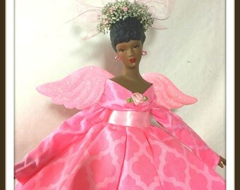 Pink Angel, Black Angel Doll, African American Tree Topper, Gift For Mother's Day, OOAK Porcelain Angel in Pink