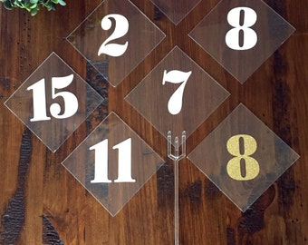Table Numbers.  Unique table numbers perfect for trendy wedding, Modern Wedding Decor. Transparency Numbers. Plexiglass and vinyl numbers.