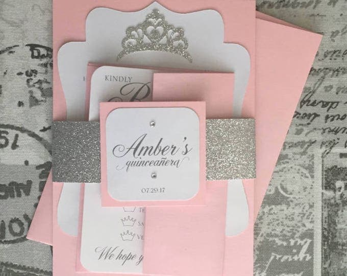 Quinceañera Invitation, pink and silver with personalized glitter belly bands. Princess theme. Sweet sixteen invitation.