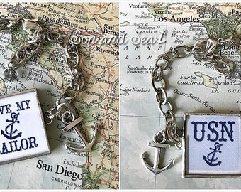 US Navy love my sailor reversible soldered glass bracelet by Son and Sea FREE US shipping - one of a kind