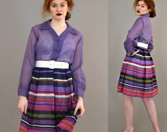 1970's Montgomery Ward Sheer purple shirtwaist Dress with Pleated striped skirt