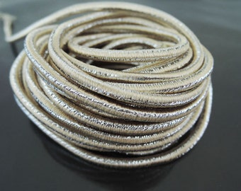Elastic Cord 3.5mm - Metallic Almond Silver Round Stretch Elastic Drawcord Rope Cord ( 1 , 5 or 10 Yards )