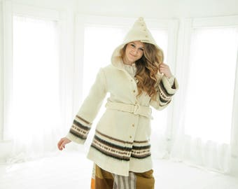 Vintage white wool coat, removable hood, bell sleeves, brown stripes wool boho retro S M 1970s, Davis of Boston