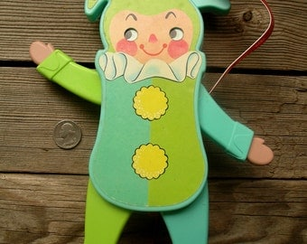 Vintage Fisher-Price Jolly Jumping Jack Toy - 1969 Nursery Clown Action Figure for Crib - Fun Moving Squeaking Darting Eyes Jester Plaything