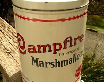 Vintage Campfire Marshmallow Tin - Replica of 1920's 16oz  Metal Advertising Container - Bordens Finest Quality One Pound Can