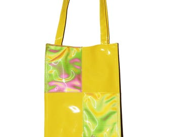 90s Holographic Patent Leather Yellow Tote Bag Medium Size