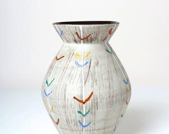 Vintage Carstens vase 638 20 1950s, West German Fat Lava pottery, mid century modernist table vase, retro home decor