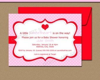 Pink Valentines Day Invitation Template, EDITABLE Pink Valentine Party Invitation, Printable Pink Baby Shower Valentine's Day Invite V2
