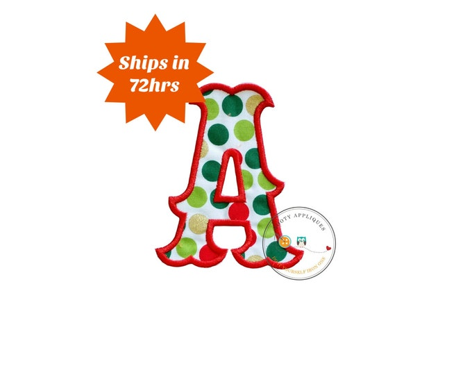Scroll letter A monogram iron on applique, red, green, and gold machine embroidered no sew patch for clothing, quick shipping, pre-made