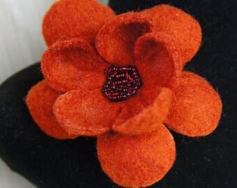 SALE 50%, Flower, Felt Flower, Flower Brooch, Felt Flower Brooch, Brooch, Felt Brooch, Christmas Ornament, Wool Flower, Felt Rose, Gift Idea