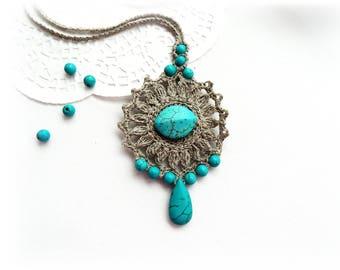 Crochet Necklace - Natural Linen Necklace-  Linen Turquoise Necklace - Mandala Necklace - Long Necklace - Ethnic Necklace -Earthy Necklace