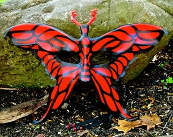 Leather Butterfly Mask, Red and Black Moth Halfmask, Handcrafted Winged Fantasy Fairy Costume Piece (M207)