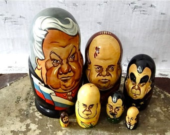 Large 7 Inch Russian Nesting Dolls Soviet Political Leaders Matryoshka 7 Pieces