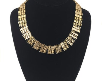 vintage 1950's CORO gold link necklace / choker / atomic / costume jewelry / vintage jewelry