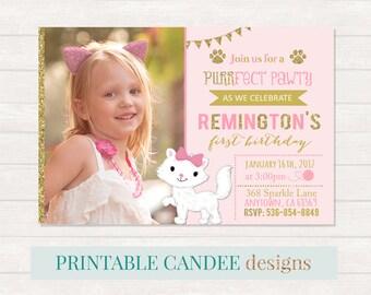 Kitty Cat Birthday Invitations, Animal Party, Pet Invite, Pink Gold, Printable DIY