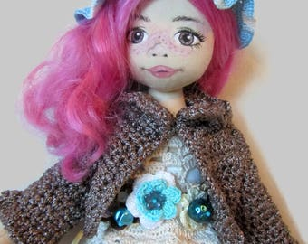 Textile doll, Handmade Doll,Hand painted doll face,collectible dolls, rag doll, art doll, OOAK doll