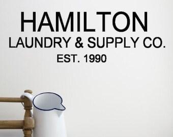 Custom Family Name Laundry & Supply Co. Vinyl Wall Decal.