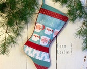 Quilted Christmas Stocking, Santa Mugs, Personalized, Retro, Mid Century, Handmade, Quilted, Santa, Modern, Holiday Decor, Vintage Santa