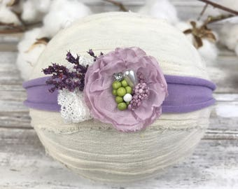 Lavender tieback~Photo prop~Photography prop~Jersey tieback~Spring photo prop~Baby photo prop~Headband~Newborn~Toddler~Hair accessory~
