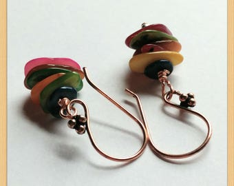 Dyed moonstone pebbled copper earrings