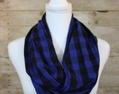 Black and Blue Buffalo Plaid Infinity Scarf, Gingham Scarf, Fall Scarf, Christmas Gift, Holiday Scarf, Women's Gift, Gift for Her
