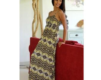 Maxi Dress in Brown and Lime Green / Geometric Long Dress / Womens Dress / Summer Maxi Dresses / Sleeveless Dress / Straps Dress