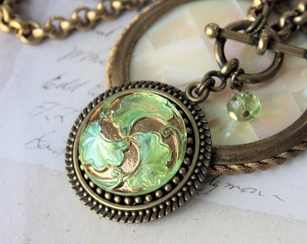 Peridot Art Glass Pendant Necklace Toggle, August Birthday, Brilliant Peridot w flashes of turquoise and gold, Button Jewelry veryDonna