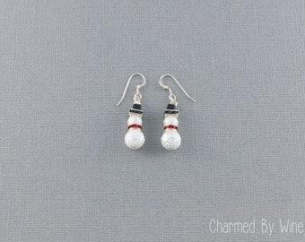 Snowman Earrings, Christmas Earrings, Beaded Snowmen, Snowman Jewelry, Winter Jewelry - CUSTOM COLORS AVAILABLE