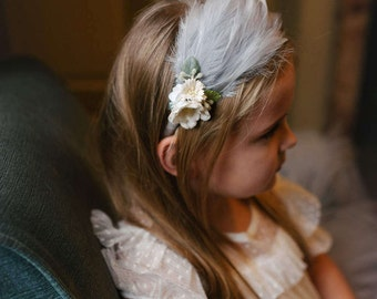 Floral Feather Head Band, Bridesmaid Headpiece, Girls Feather Headband, Feather Crescent Wedding Headpiece