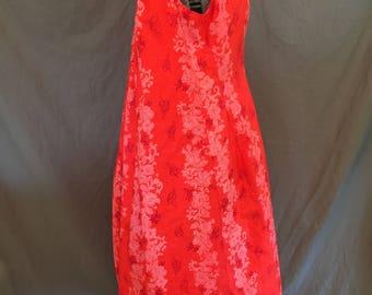 Plus Size Vintage: 80's Hawaiian Floral Adjustable Trapeze Mini Muu Muu Dress