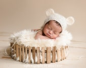 Newborn mohair bear bonnet-knit lace mohair set-knit lace bonnet and matching wrap in mohair wool-newborn photography