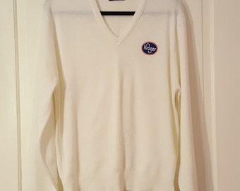 PINE STATE SWEATER // Vintage Winter White Kroger Grocery Store Supermarket Sweater Classic Men's Size xl V Neck