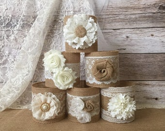 6 burlap jar sleeves, ball quart size jar sleeves, ivory and cream color lace and natural color burlap, wedding, bridal shower