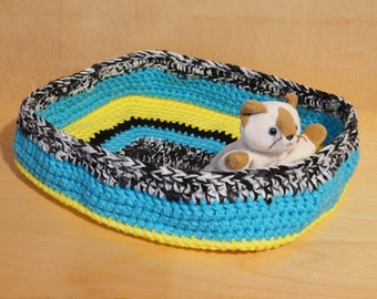 Cat Bed, Crochet Cat Bed, Blue, Yellow, and Black Cat Bed