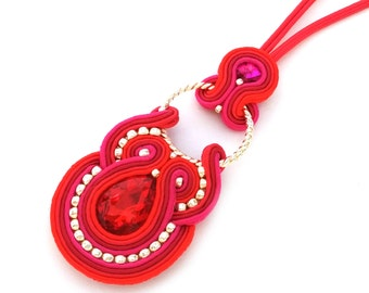 Soutache necklace - soutache pendant - Valentine's day gift for wife - Gift for girlfriend - Gift for mom - Statement necklace gift for wife