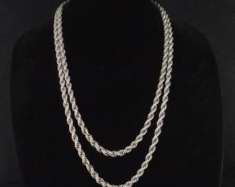 MONET Silver Tone Twisted Rope Chain Necklace 55""