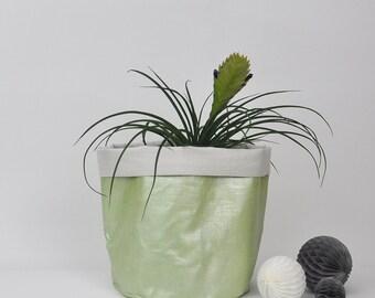 Large Plant Holder, Fabric Planter, Fabric Basket, Soft Pot, Storage Basket, Pot Plant Holder, Metallic Green Fabric Basket