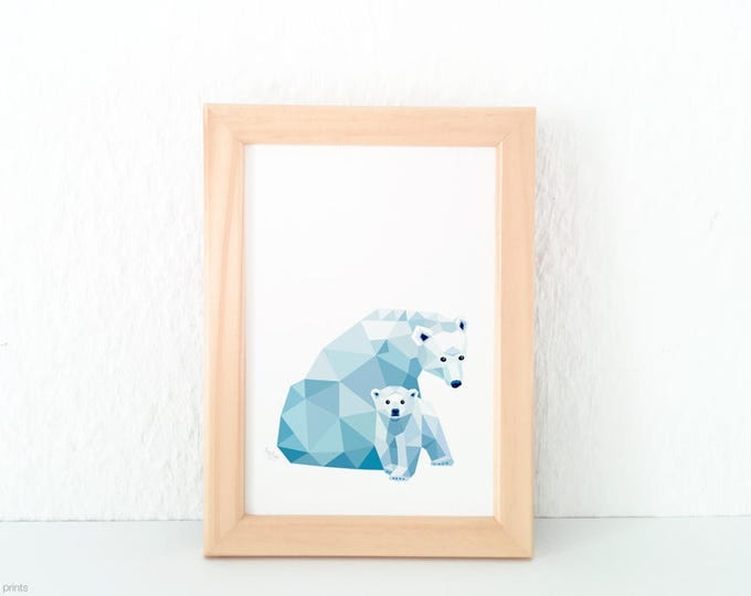 Polar bear illustration, Nursery art, Bear print, Geometric print, Pastel blue decor, Animal family, Mother and children, Cute baby animal