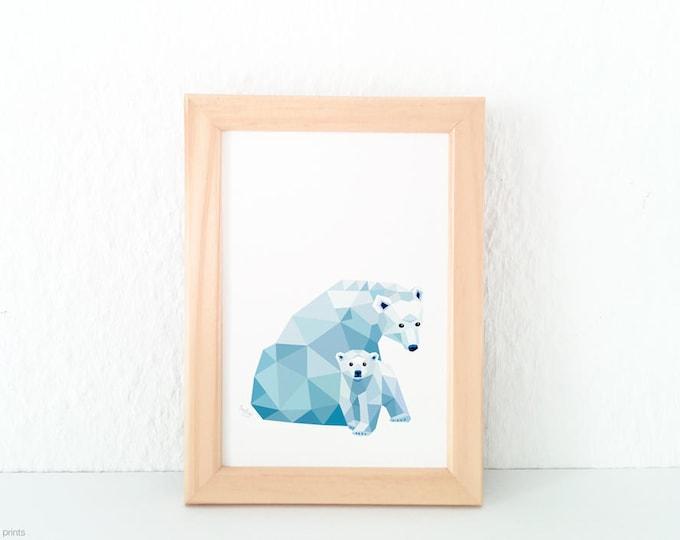 Polar bear illustration, Nursery art, Bear print, Geometric print, Pastel blue decor, Animal family, Mother and children, Cute baby animal