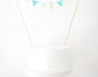 Mint Green & Gold Cake Topper - Fabric Cake Bunting, Wedding, Birthday Party, Shower Decoration, teal geometric floral lace cream modern