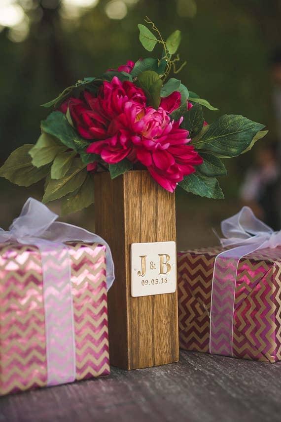 PERSONALIZED Wedding GiftMonogrammed Fruitwood Vase