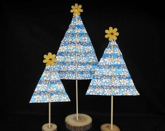 Spring Floral Paper Trees Assortment Set of 3