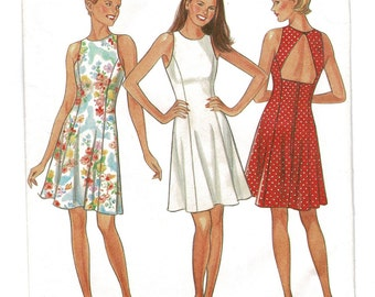 New Look 6502 Summer Sleeveless Dress Pattern with Open Back Womens Sewing Pattern, Misses Size 8 Bust 31 Complete