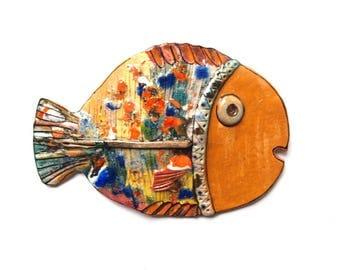 Colorful fish, Ceramic wall fish, Fish decor, Wall hanging fish, pottery fish, Ceramic fish, Wall art fish, Beach house art,  Fish sculpture