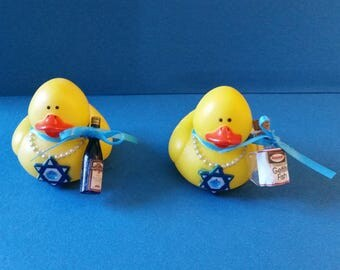 Jewish Festive Rubber Duckies with Star of David Necklaces and Symbols of Passover and Shabbat